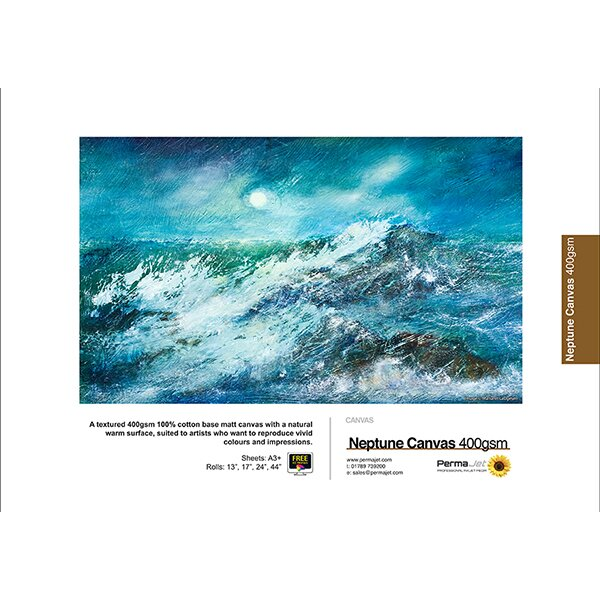 "PermaJet Neptune Matt Canvas 400, 400 g/qm, Rolle (24"") 61 cm x 12 m"