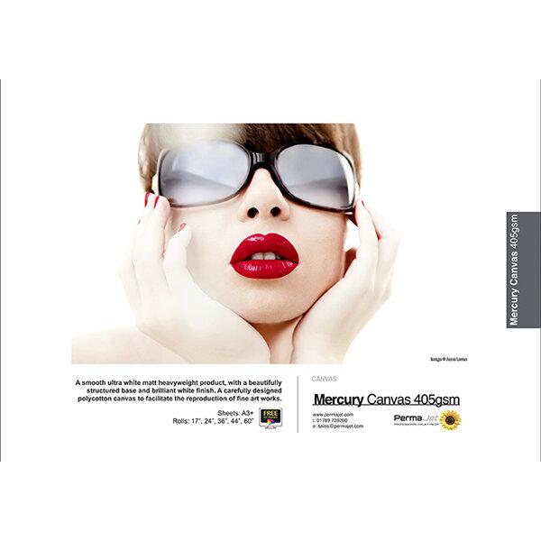 "PermaJet Mercury Ultra White Matt Canvas 405 g/qm, Rolle (44"") 111,8 cm x 15 m"