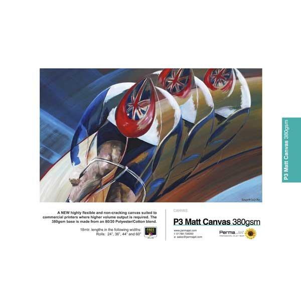 """PermaJet P3 Production Matt Canvas 380, 380 g/qm, Rolle (24"""") 61 cm x 18 m"""