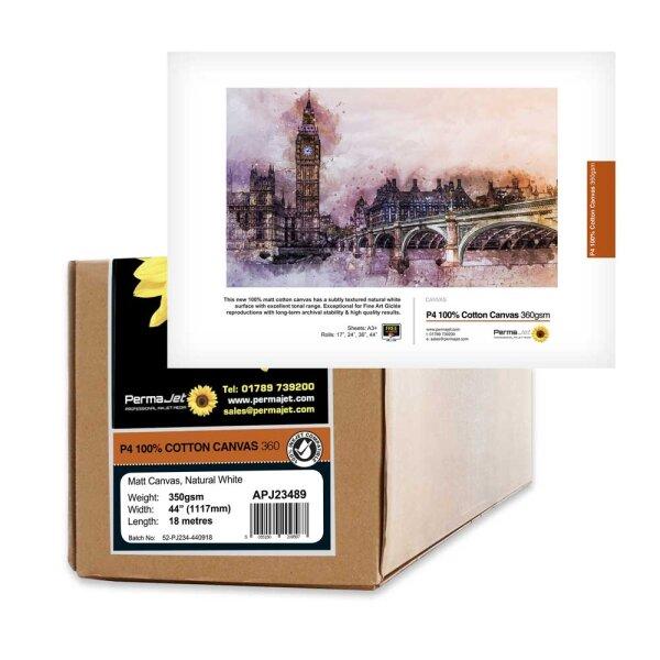 """P4 Production 100% Cotton Matt Canvas360 360 g/qm Rolle 0,432 (17"""") x 18 m"""